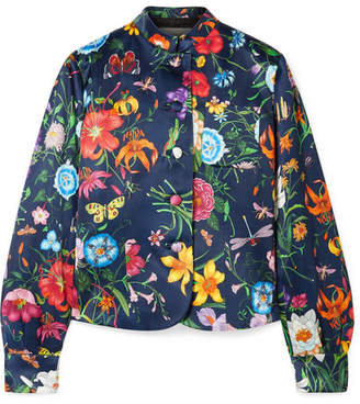 Gucci Floral-print Silk-satin Jacket - Navy