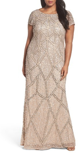 Adrianna PapellPlus Size Women's Adrianna Papell Embellished Scoop Back Gown