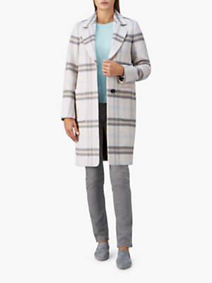 Pure Collection Alpaca Wool Blend Coat, Pale Blue Check