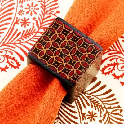 Red Batik Wood Napkin Ring Set of 6