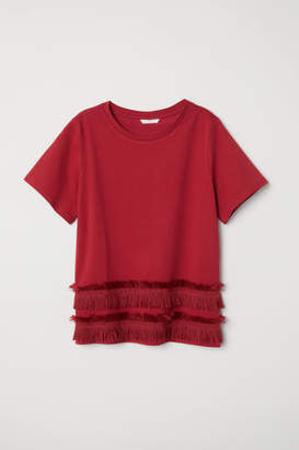 H&M Jersey Top with Fringe - Red