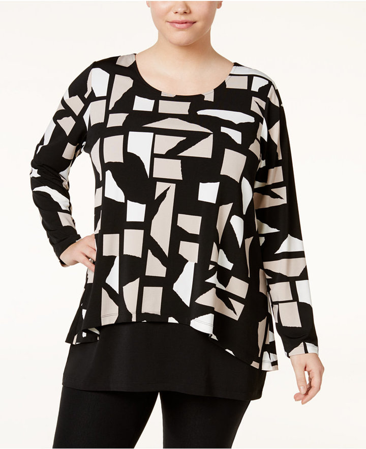 AlfaniAlfani Plus Size Printed Layered-Look Top, Only at Macy's
