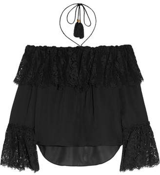 Rachel Zoe Cali Off-the-shoulder Lace And Silk-chiffon Top - Black