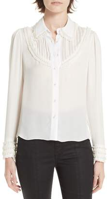 Alice + Olivia Noreen Embellished Pintuck Yoke Silk Blouse
