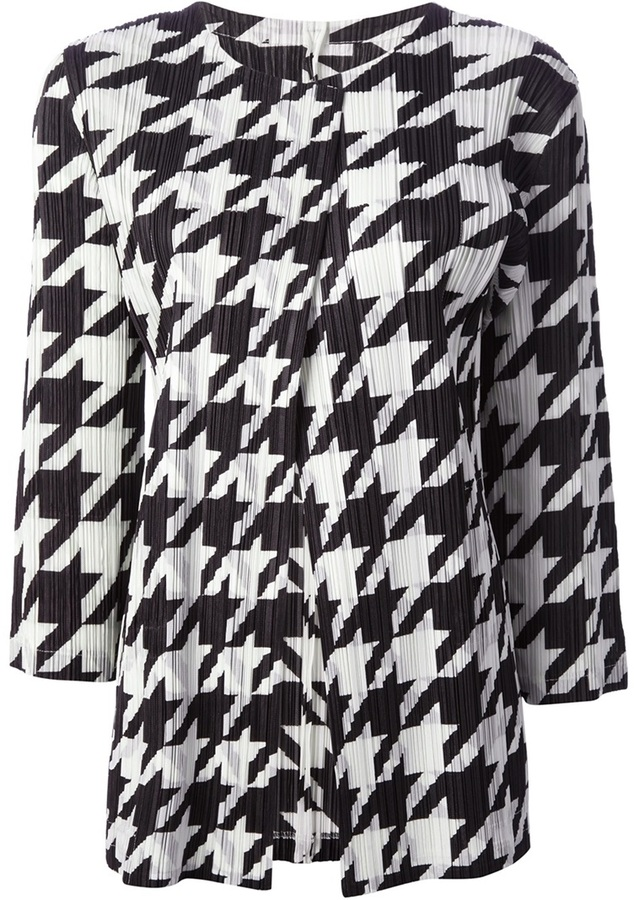 Issey Miyake Pleats Please By pleated houndstooth cardigan