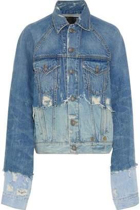 R 13 Oversized Paneled Distressed Denim Jacket