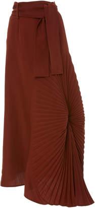 Victoria Beckham High-Waisted Pleated Crepe Maxi Skirt