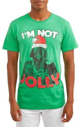 Star Wars Movies & TV Men's Jolly Yoda Short Sleeve Holiday Graphic Tee, Up tp size 2XL
