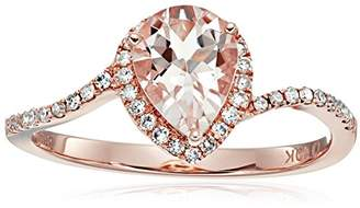 10k Rose Gold Morganite and Diamond Princess Diana Pear Shape Engagement Ring (1/5cttw