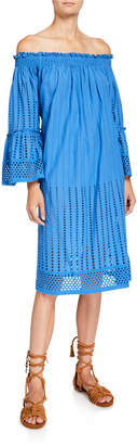 Nordic Pure London Lucca Schiffli Off-the-Shoulder Midi Dress