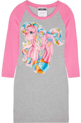 Moschino My Little Pony Printed Stretch-cotton Jersey Mini Dress - Gray