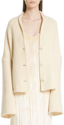 Rosetta Getty Convertible Wool Blend Boucle Cape Coat