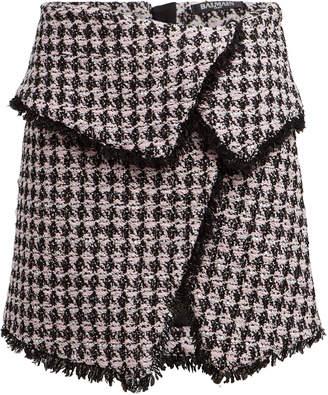 Balmain Tweed Wrap Mini Skirt