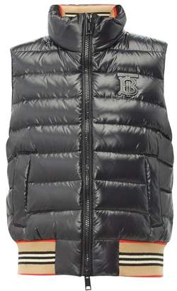Burberry Tb Logo Quilted Technical Shell Gilet - Womens - Black