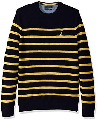 Nautica Men's Long Sleeve Striped Crew Neck Sweater