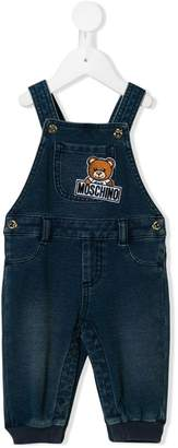 Moschino Kids teddy logo embroidered dungarees