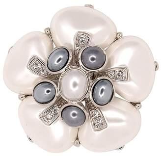 Kenneth Jay Lane Grey White Pearl Flower Pin