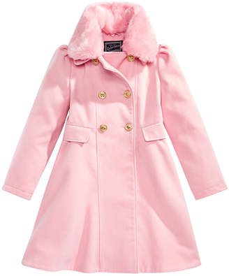 S. Rothschild Big Girls Double-Breasted Coat with Faux-Fur Collar