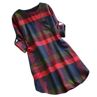DongDong❤Women's Casual Loose Long Sleeve Striped/Plaid Tunic Dress with Pockets
