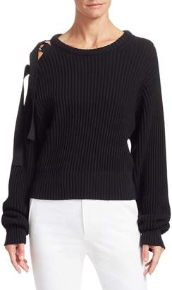 Helmut Lang Ribbed Tie-Shoulder Crewneck Sweater