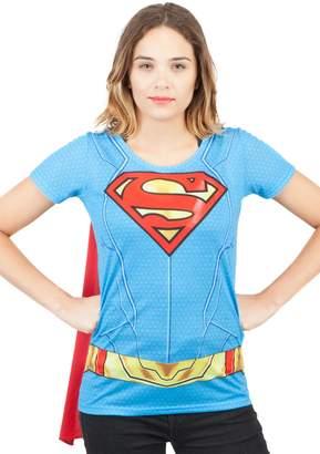 Bioworld Merchandising / Independent Sales DC Comics Supergirl Suit Up Juniors Blue T-Shirt with Cape | M