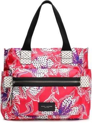 Marc Jacobs Biker Leather-trimmed Floral-print Shell Diaper Bag
