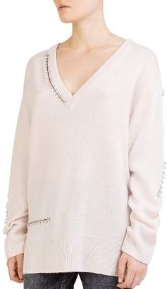 The Kooples Cashmere Ring-Trim Cutout Sweater
