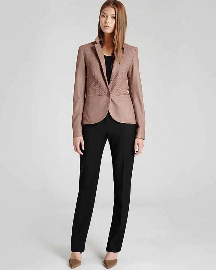 Reiss Leather Blazer - Aylish Weave