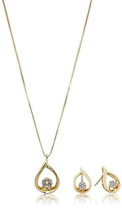 10k Yellow Gold Diamond Cluster Earrings and Pendant Necklace Jewelry Set (1/10cttw)