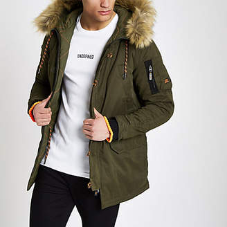 River Island Superdry green faux fur trim parka jacket