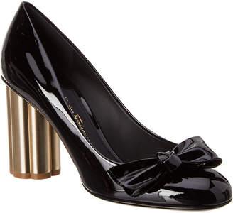 Salvatore Ferragamo Flower Heel Patent Pump