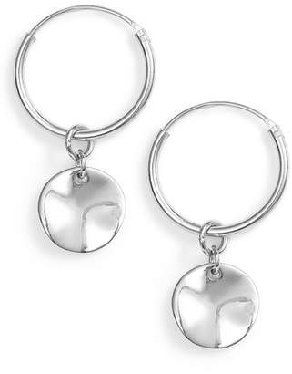 Argentovivo Flat Disc Drop Hoop Earrings
