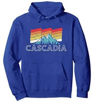 Retro Cascadia Mountain Hoodie - Vintage 80s Sunset Design