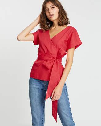 Atmos & Here ICONIC EXCLUSIVE - Ela Linen-Blend Wrap Top
