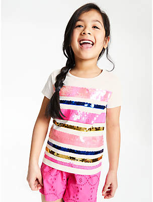 bafa627b John Lewis & Partners Girls' Stripe Sequin T-Shirt, White/Pink