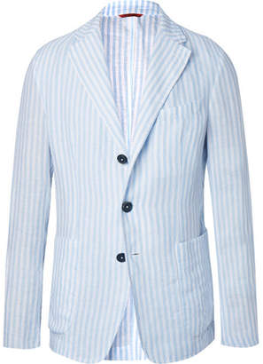Barena Light-Blue Unstructured Striped Linen Blazer - Light blue
