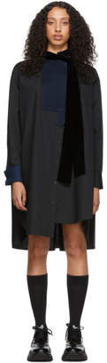 Sacai Black Tie Collar Shirting Dress