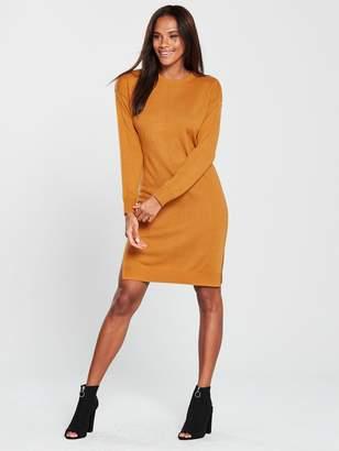 4c204638b5 Very Zip Shoulder Step Hem Knitted Dress - Mustard