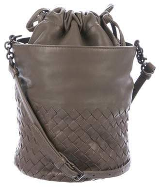 Bottega Veneta Intrecciato-Trimmed Bucket Bag Olive Intrecciato-Trimmed Bucket Bag