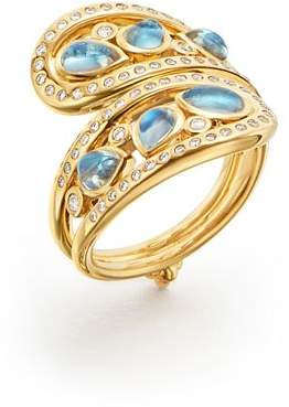 Temple St. Clair 18K Yellow Gold Blue Moonstone Arabesque Ring