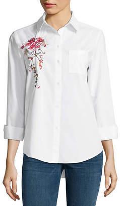 A.N.A Long Sleeve Button-Front Shirt - Tall