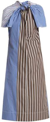 Marni Knot-front striped cotton-poplin dress