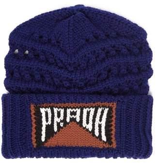 Prada Logo Intarsia Wool Beanie Hat - Womens - Blue