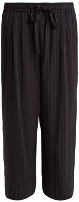 Vince - Wide Leg Pin Striped Tie Waist Trousers - Womens - Navy