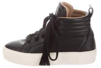Helmut Lang Leather High-Top Sneakers