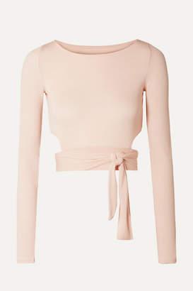 Alo Yoga Cropped Cutout Stretch-modal Wrap Top - Pastel pink
