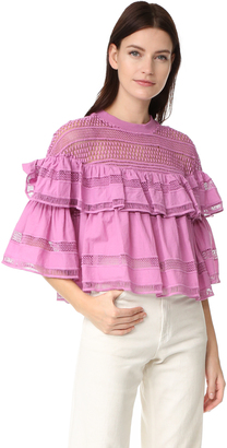 Sea Baja Lace Ruffled Top $345 thestylecure.com