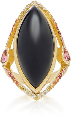Ele Karela Black Marquise 18K Gold Sapphire Diamond And Onyx Ring