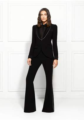 Rachel Zoe Jagger Crystal-Trimmed Satin-Backed Crepe Pants