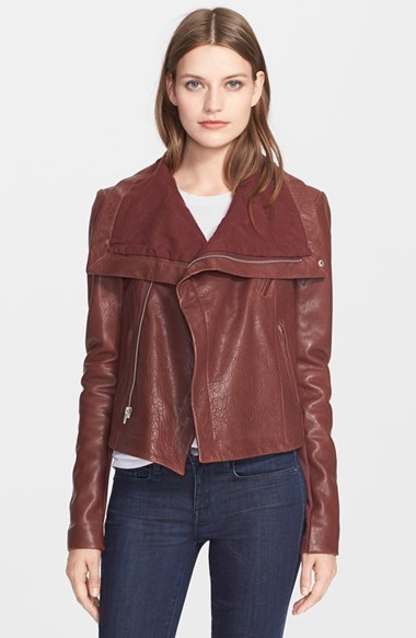 Veda Women's 'Max Classic' Leather Jacket, Size Small - Red